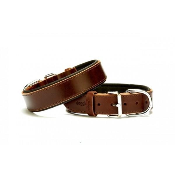 Konforlu Gerçek Deriden El Yapımı Köpek Boyun Tasması 3,5x47-55cm - Brown